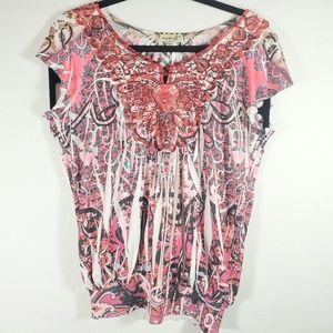 One World Women Blouse Top FLoral Blouse Red Sz M